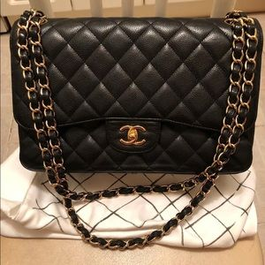 Chanel Caviar Black Jumbo Size gold hardware